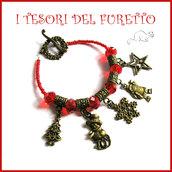 """Bracciale Natale charm tibetani """"Christmas  time rosso """" fiocco neve omino babbo Natale albero idea regalo donna ragazza bijoux natale"""
