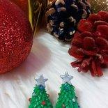 Orecchini natalizi - Albero di Natale con stella argento