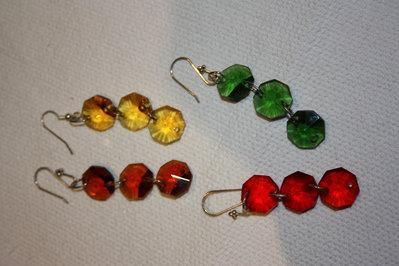 orecchini con ottagoni in cristallo