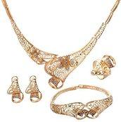 et gioielli placcati in oro nobile, con decoro a fiore, collana, braccialetto, anello e orecchini, per donne