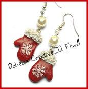 Natale in Dolcezze -  Orecchini guanti per la neve con fiocco di neve - handmade - idea regalo - handmade