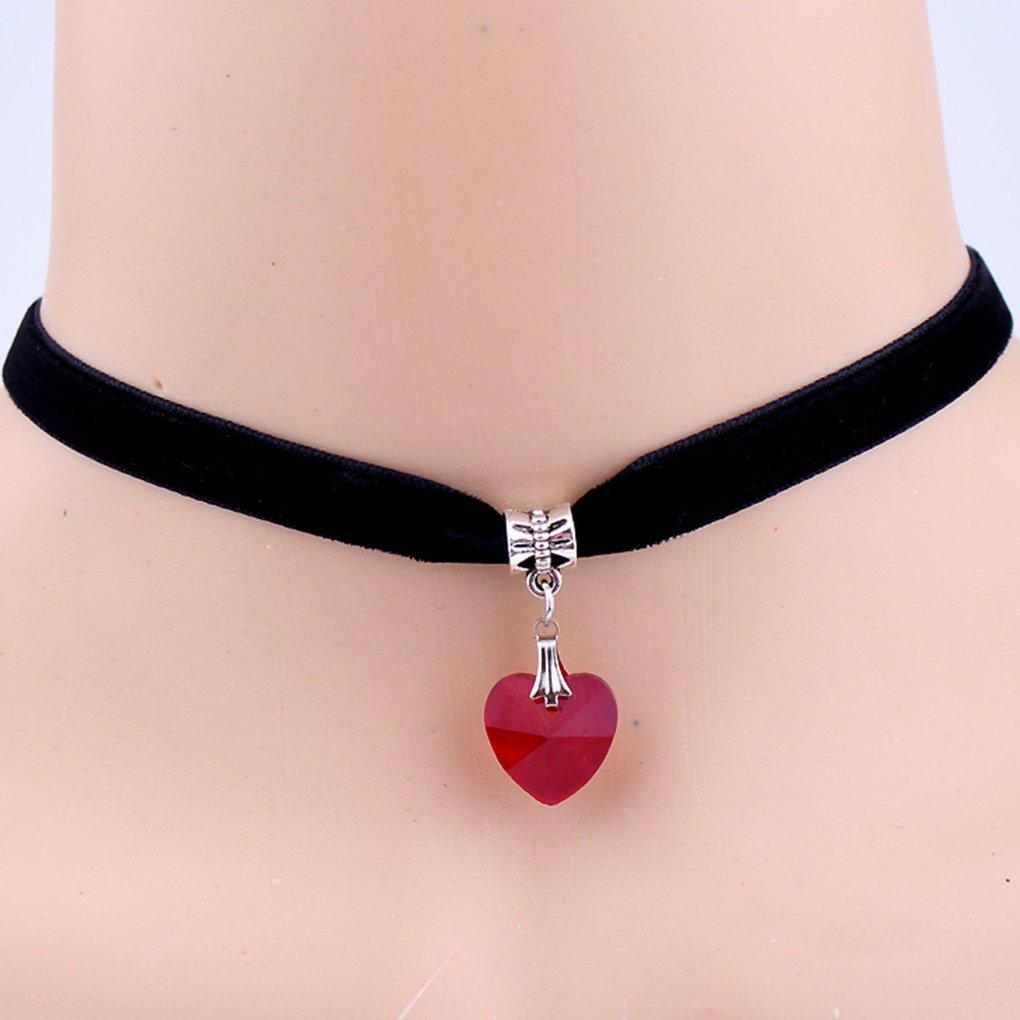 Collana Handmade delle donne Velvet Choker di cristallo del cuore pendente corto girocollo