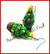 Natale in Dolcezze - Orecchini Cupcake Alberi di Natale - dolci natalizi - miniature handmade kawaii idea regalo