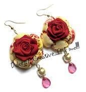 Orecchini Elegance - Rose color vino con pendenti rosa a forma di goccia - handmade idea regalo
