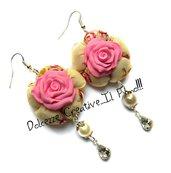 Orecchini Elegance - Rose rosa con pendenti a forma di goccia - handmade idea regalo