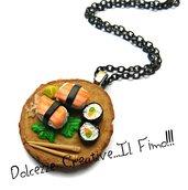 Collana Sushi! - Handmade in fimo e cernit - Futomaki, nigiri con salmone, tonno ecc - japan food