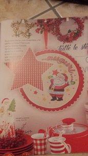 Schema fuoriporta natalizio, babbo natale, stelle, ricamo punto croce