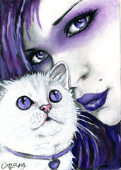 donna e gatto