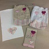 Set kit nascita bebè sacchetta asciugamano ospite portapannolini portasalviette