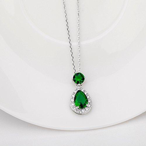 Collana in argento con pendente smeraldo( Zirconia cubica ) 18K