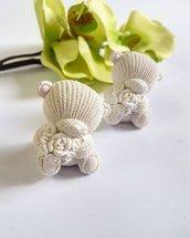 orsetto bomboniera in gesso ceramico