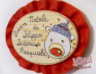 Targa Pirografata Orso Natalizio
