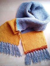 sciarpa lunga in lana con frange unisex uomo donna righe colore grigio ramato azzurro giallo senape - sciarpa ragazzo ragazza