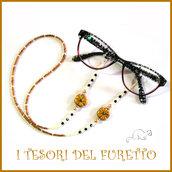 """Cordino occhiali """" Fiore oro nero  """" catenella portaocchiali fimo idea regalo Natale  donna bambina ragazza kawaii elegante"""