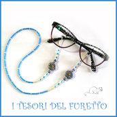 """Cordino occhiali """" Fiore azzurro oro  """" catenella portaocchiali fimo idea regalo Natale  donna bambina ragazza kawaii elegante"""