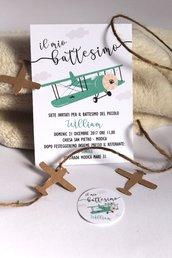 invito battesimo aereoplano vintage invito battesimo bimbo piccolo aviatore