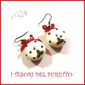 """Orecchini Natale """" Donut agrifoglio  """" dolcetti  fimo cernit premo kawaii idea regalo bambina donna clip  ragazza"""