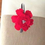 Cerchietto rosso con strass e fiore