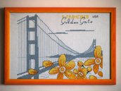 "Quadro ricamato ""Golden Gate"""