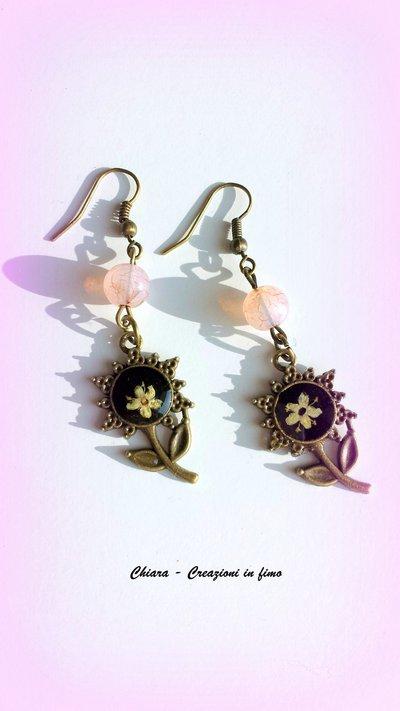 Eleganti orecchini in resina fiori secchi, rosa, girasole, handmade, vintage, etnici, idee regalo per lei, compleanno, Natale