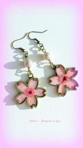 Eleganti orecchini in resina fiori secchi, rosa, Sakura, fiori di ciliegio, handmade, vintage, etnici, idee regalo per lei, Natale