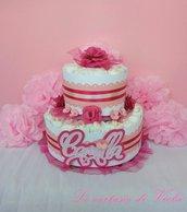 Torta di pannolini idea regalo nascita - per bimba rosa con fiori e nome -