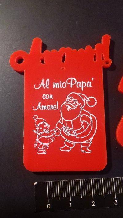 (431) tris ciondoli natalizi AUGURI PAPA' in plexiglass rosso