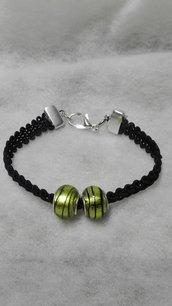 braccialetto con ciondolo argento verde