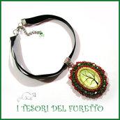 """Collana collarino serie   """" Burlesque verde rosso """" girocollo idea regalo gotic elegante idea regalo Natale embroidery  cammeo"""