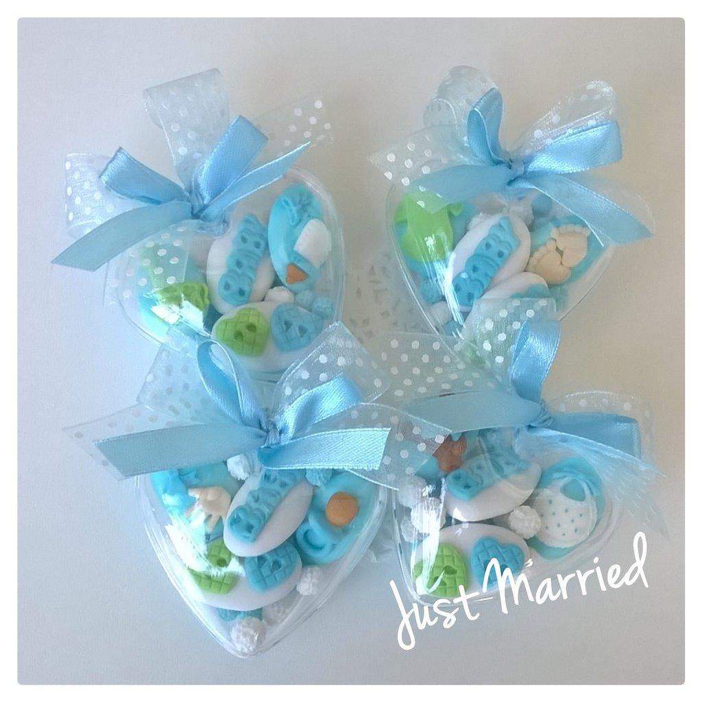confettata nascita, battesimo, cuore plexiglass, confetti decorati