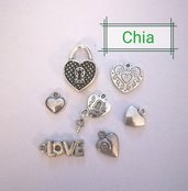 Set 7 charms cuore