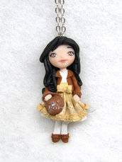 Collana bambolina con borsetta doll fimo necklace Natale idea regalo clay