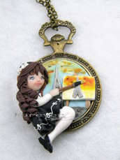 Collana pittrice su cammeo bambolina doll fimo necklace Natale idea regalo clay