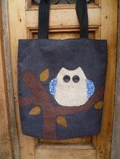 Inserzione personalizzata per nonna Lù,borsa con gufo