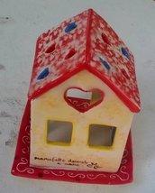 Casetta porta candela con vassoio di ceramica decorata