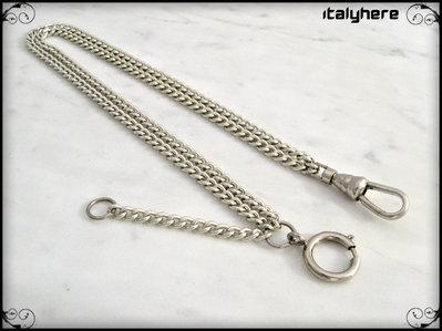 Catena per orologio da tasca, colore argento, doppia catena maglia gourmette, lunga cm. 35
