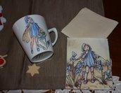 Tazza mug the o caffè in porcellana dipinta a mano con tovaglietta abbinata