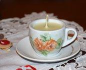 Tazzina caffè in porcellana dipinta a mano con candela di cera naturale con dedica