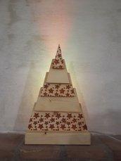 Lampada Albero di Natale - Legno e luci led multicolor - Stencil brillantini rossi/oro