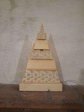 Lampada Albero di Natale - Legno e luci led multicolor - Stencil glitter Polvere di Fata