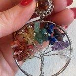Spilla albero della vita vere pietre dure naturali 7 chakra cristalloterapia