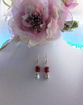 Orecchini con Rubino sfaccettato, Perle coltivate, Ottone e Silver, 50 mm