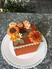 Scatola di feltro porta box per fazzoletti di carta, con fiori di feltro