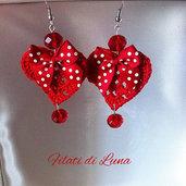 Orecchini cuore rosso uncinetto moda ragazza