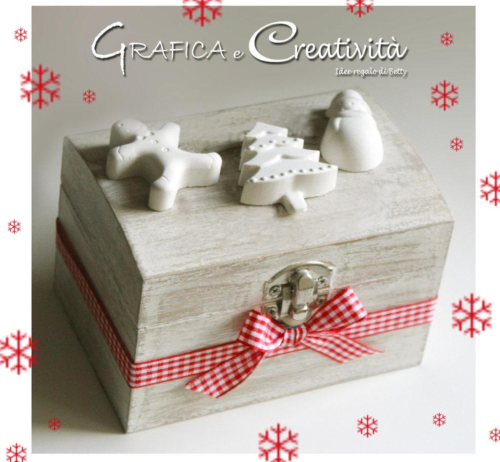 Bauletto in legno con gessetti natalizi