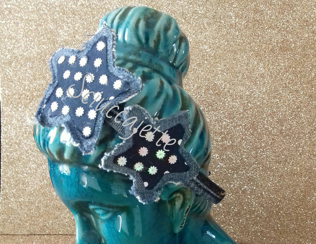 Cerchietto per capelli in jeans con stelle e paillettes