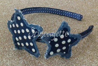 online in vendita selezione straordinaria prezzo abbordabile Cerchietto per capelli in jeans con stelle e paillettes