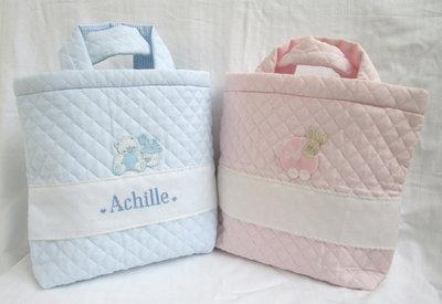 "Beauty case ""rosa o celeste"" tessuto trapuntato +nome punto croce"