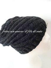 Cappello lungo  unisex in pura lana 100%