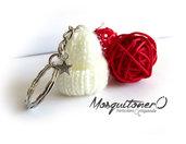 Portachiavi Cappellino di lana fatto a maglia idea regalo invitati Natale